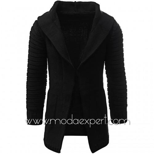 Черна плетена жилетка с качулка №11593