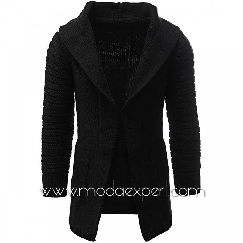 Черна плетена жилетка с качулка №C4045