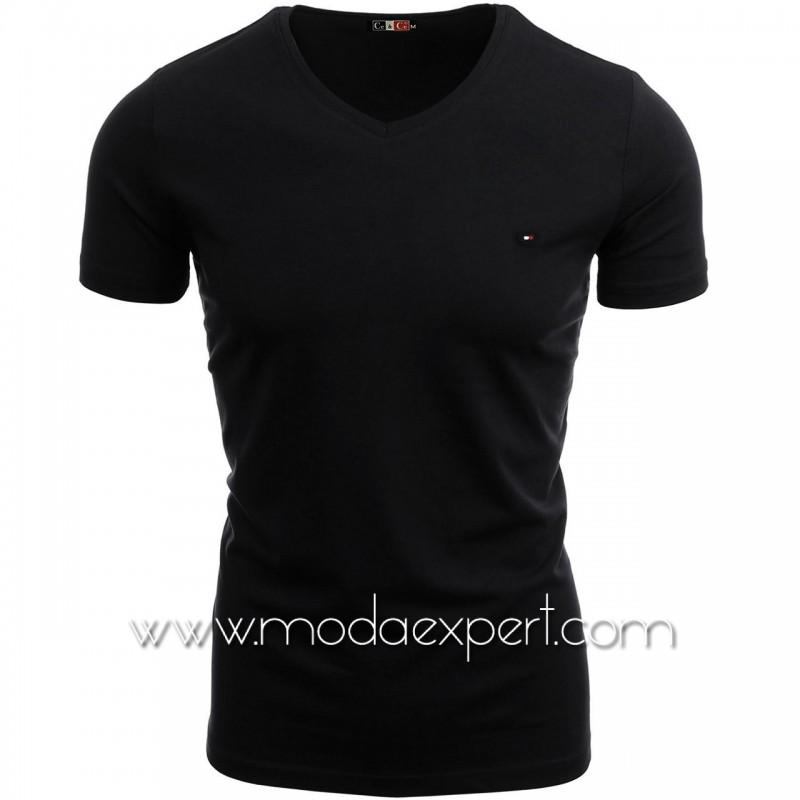 Тениска с V-образно деколте №14222-B