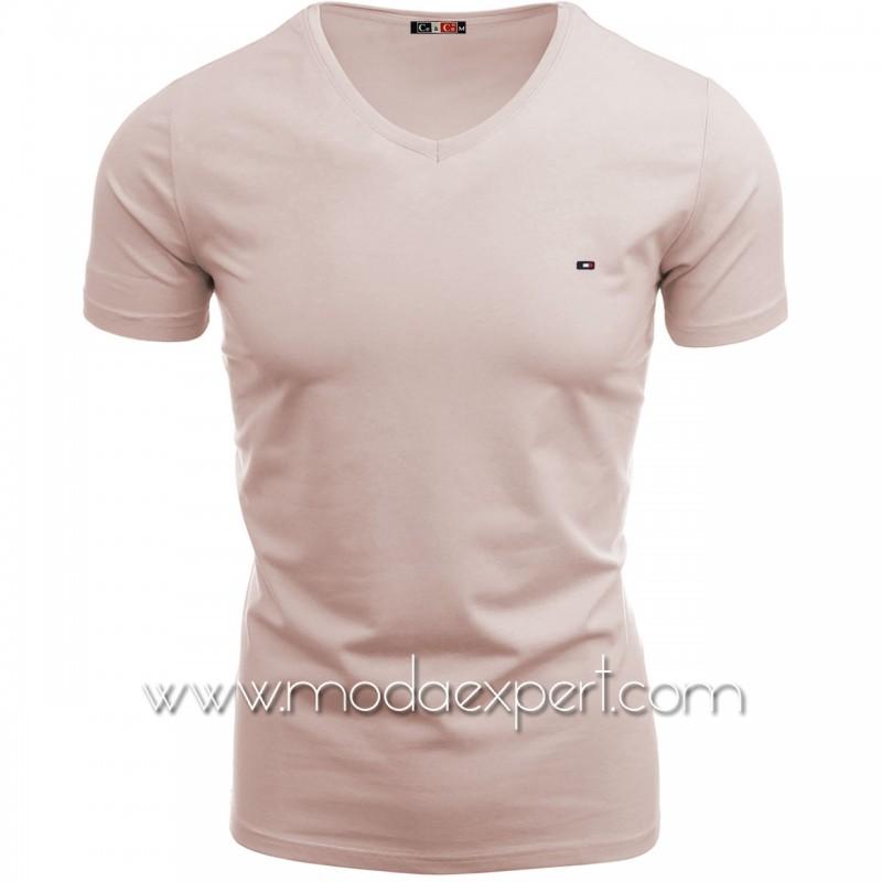 Тениска с V-образно деколте №14222-P
