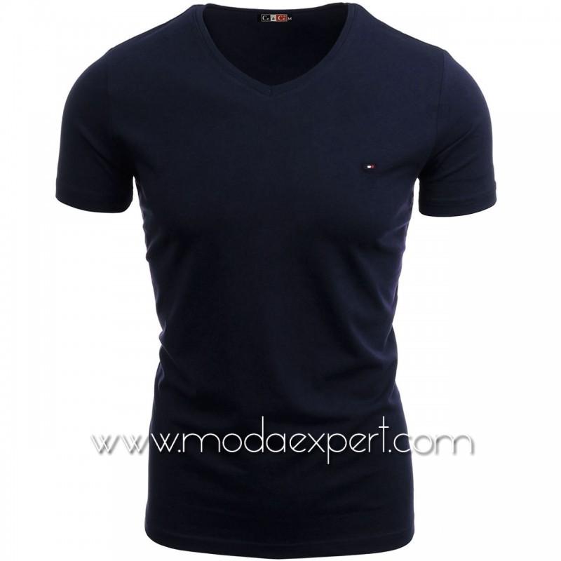 Тениска с V-образно деколте №14222-S