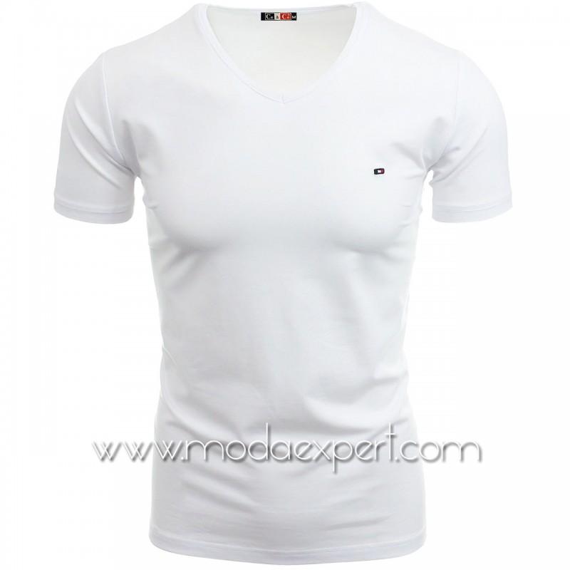Тениска с V-образно деколте №14222-W