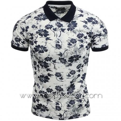 Флорална тениска с яка №14257