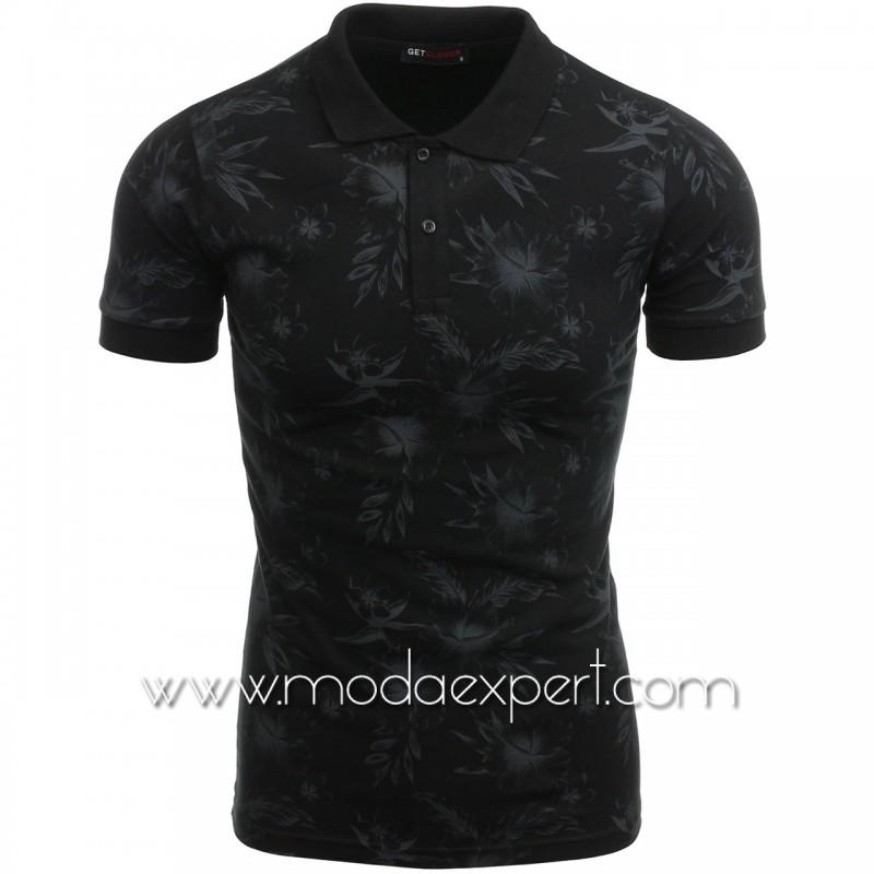 Флорална тениска с яка №14305-B