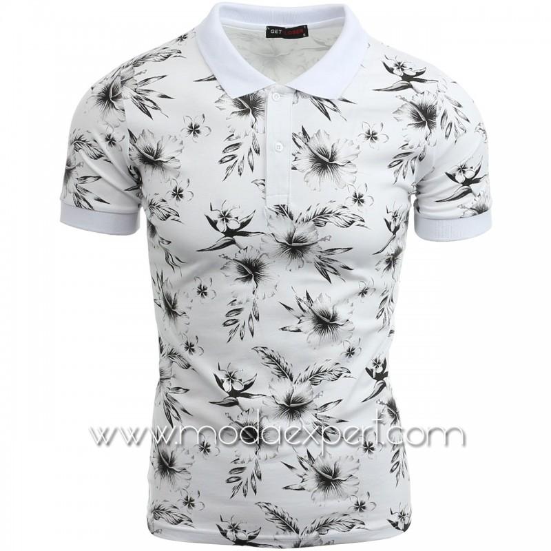 Флорална тениска с яка №14305-W