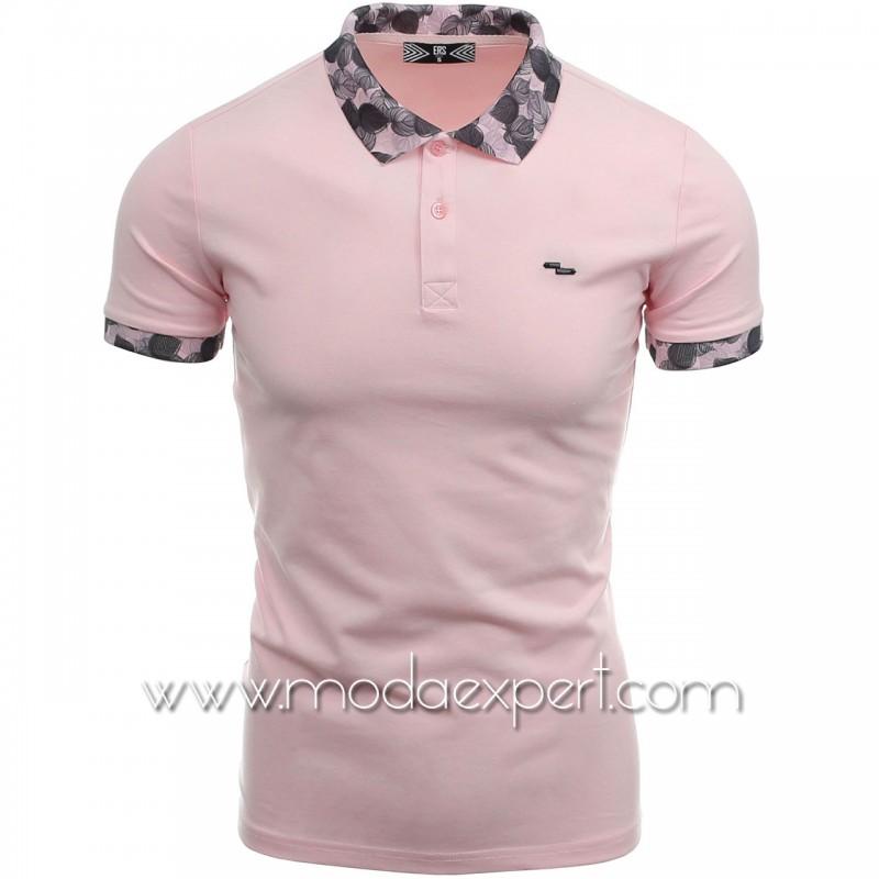 Тениска с флорална яка №14220-P