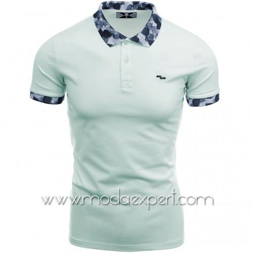 Тениска с флорална яка №14220-S