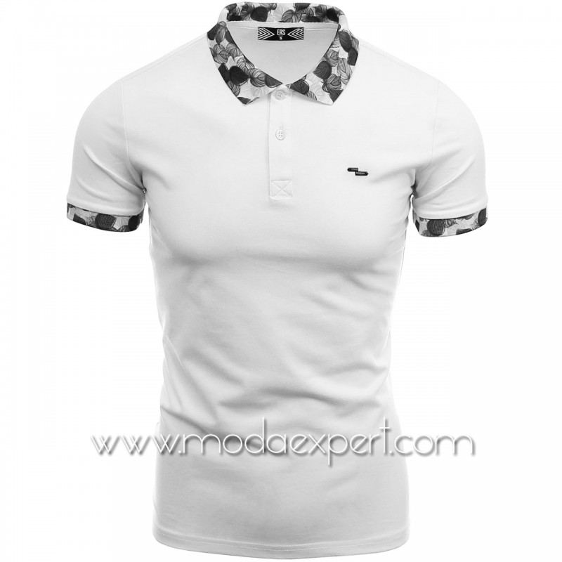 Тениска с флорална яка №14220-W