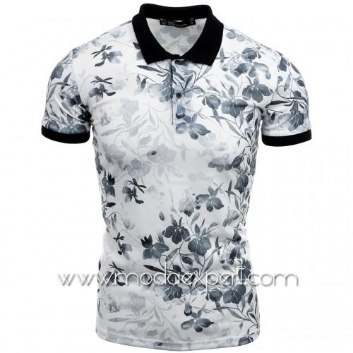 Флорална тениска с яка №14457