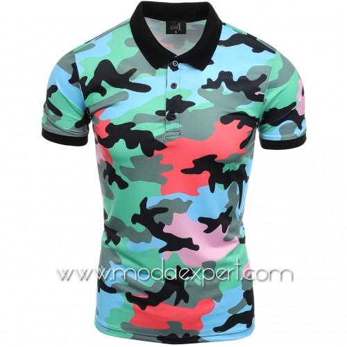 Камуфлажна тениска с яка №14508-G