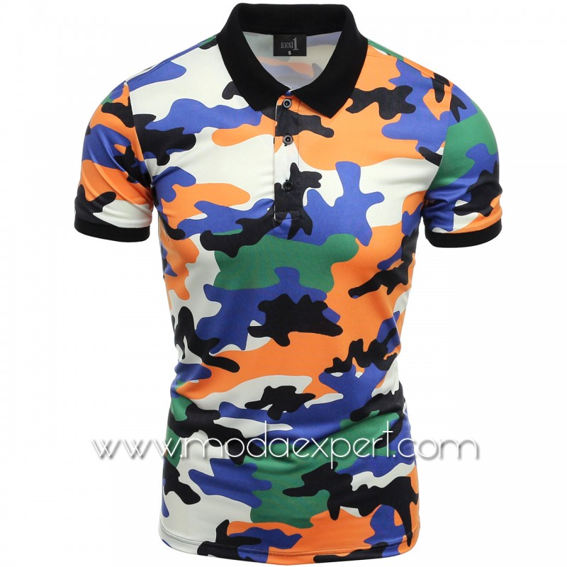 Камуфлажна тениска с яка №14508-Y