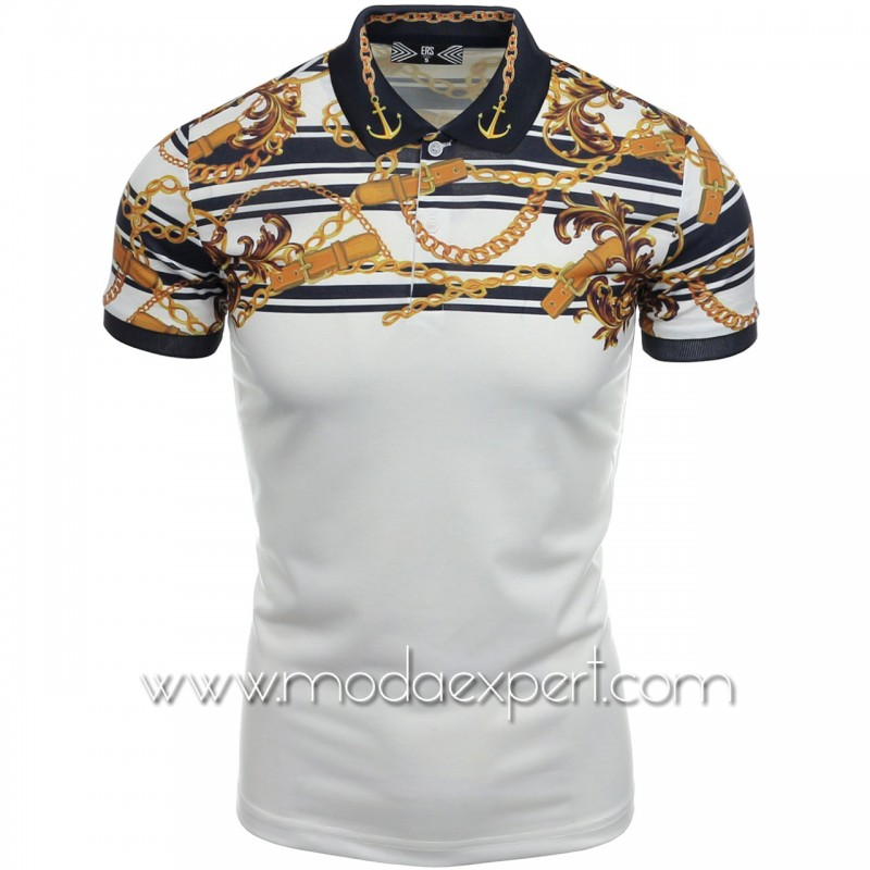 Мъжка тениска с яка №14560-W