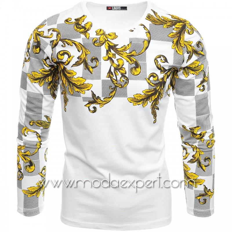 Мъжка блуза с щампи №L19912-W