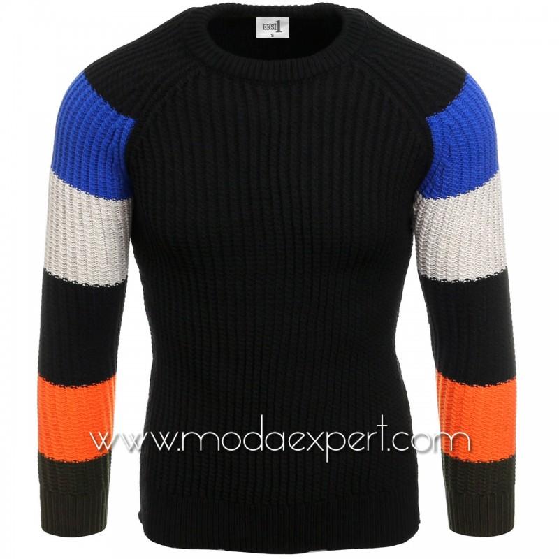 Пуловер с цветни ръкави №E3573-B