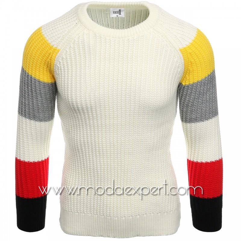 Пуловер с цветни ръкави №E3573-E