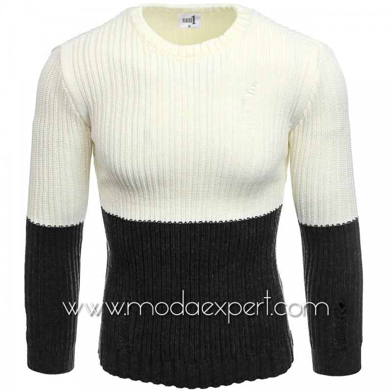 Двуцветен мъжки пуловер №E3577-А