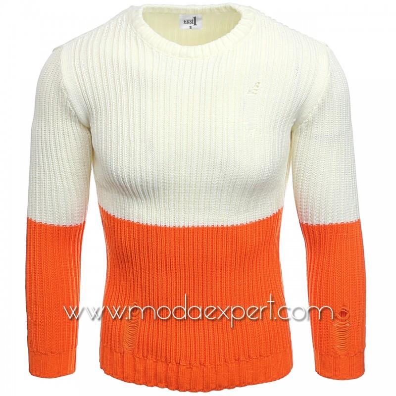 Двуцветен мъжки пуловер №E3577-O