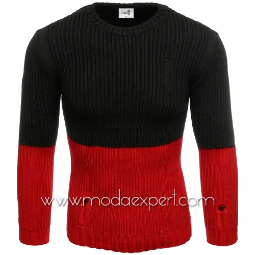 Двуцветен мъжки пуловер №E3577-R