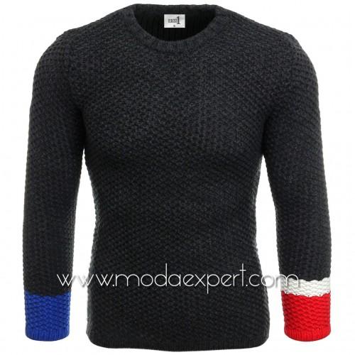 Пуловер с цветни ръкави №E3585-A