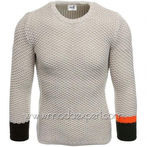 Пуловер с цветни ръкави №E3585-K