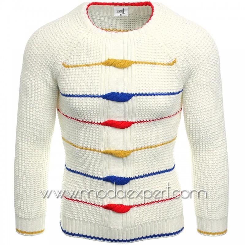 Мъжки пуловер с декорации №E3587-E