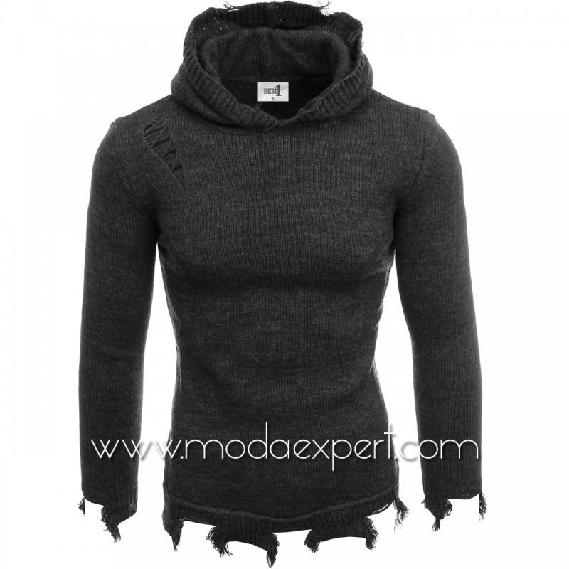 Мъжки пуловер с качулка №E3605-A