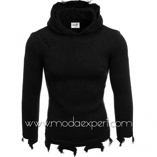 Мъжки пуловер с качулка №E3605-B