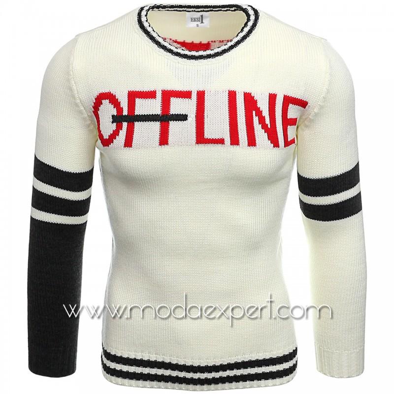 Мъжки пуловер с надпис №E3609-E
