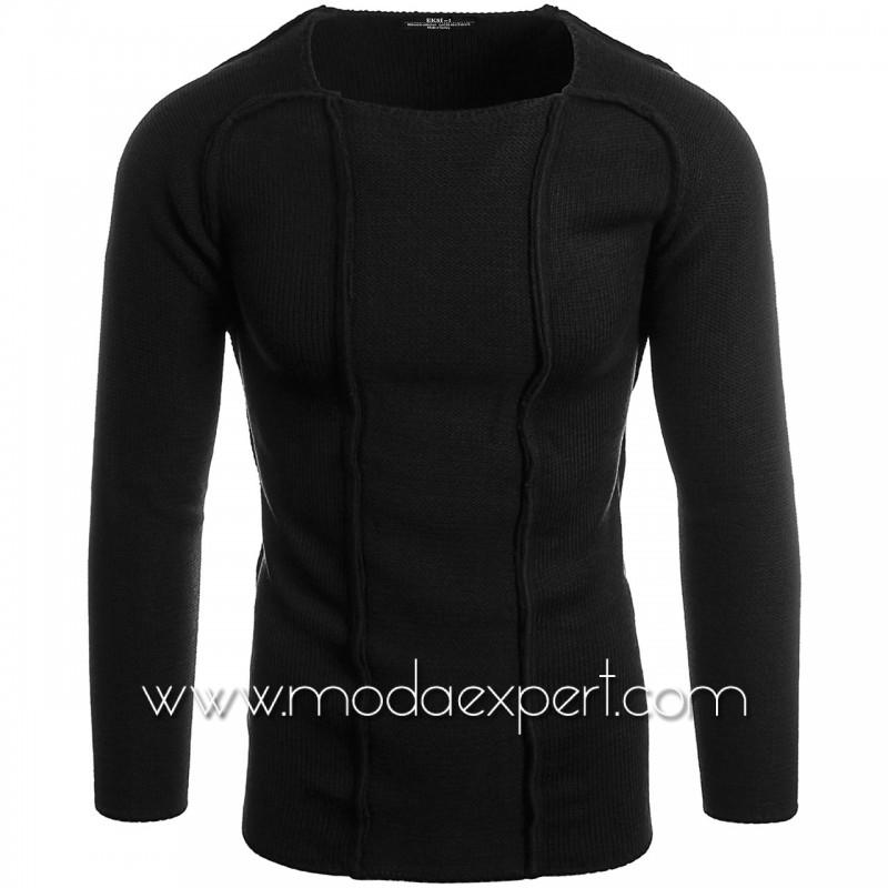 Пуловер с декоративни шевове №E3653