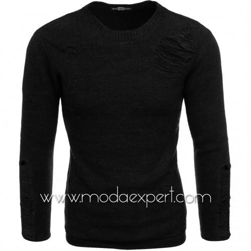 Пуловер с прокъсан ефект №E3662-B