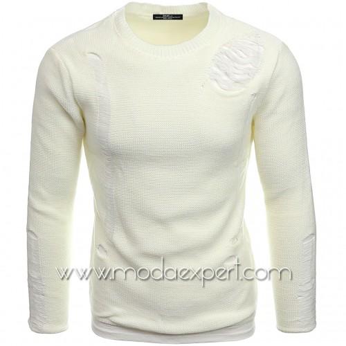 Пуловер с прокъсан ефект №E3662-Е