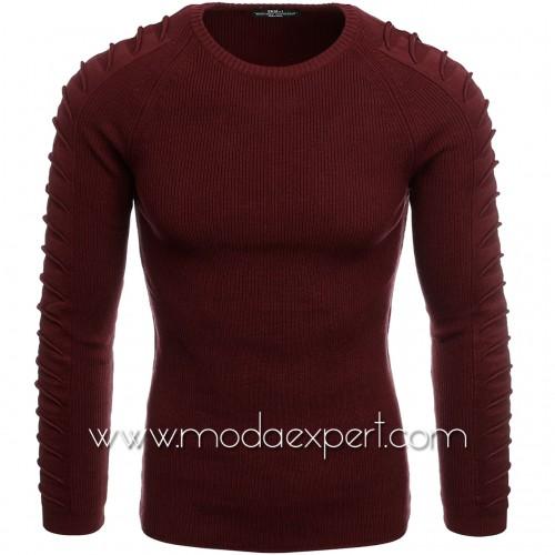 Пуловер с декорации на ръкавите №E3700-C