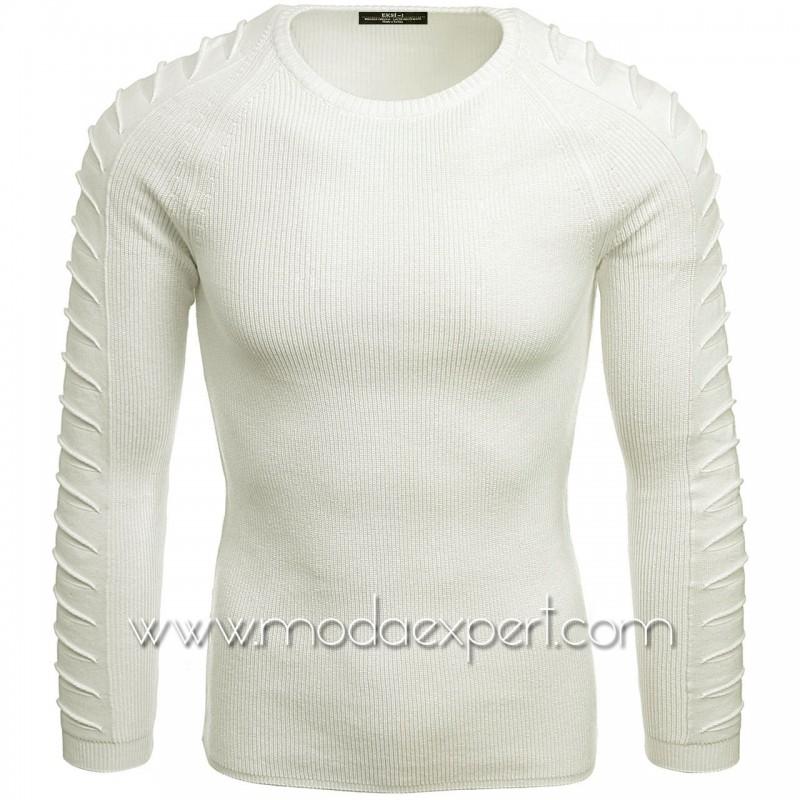 Пуловер с декорации на ръкавите №E3700-E