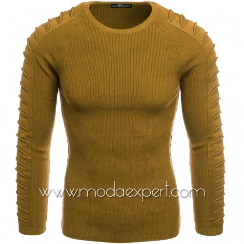 Пуловер с декорации на ръкавите №E3700-M
