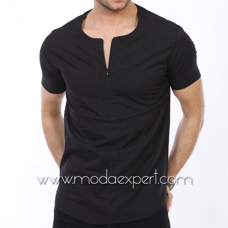 Мъжка риза с къс ръкав тип тениска №MR-4162-B