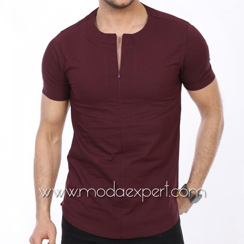 Мъжка риза с къс ръкав тип тениска №MR-4162-C