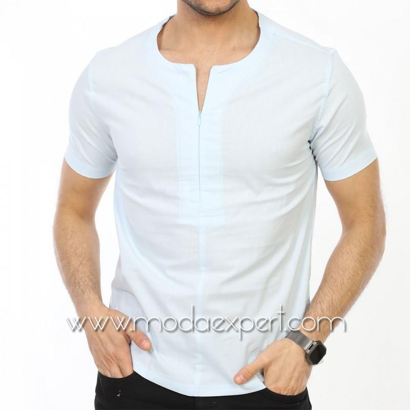 Мъжка риза с къс ръкав тип тениска №MR-4162-S