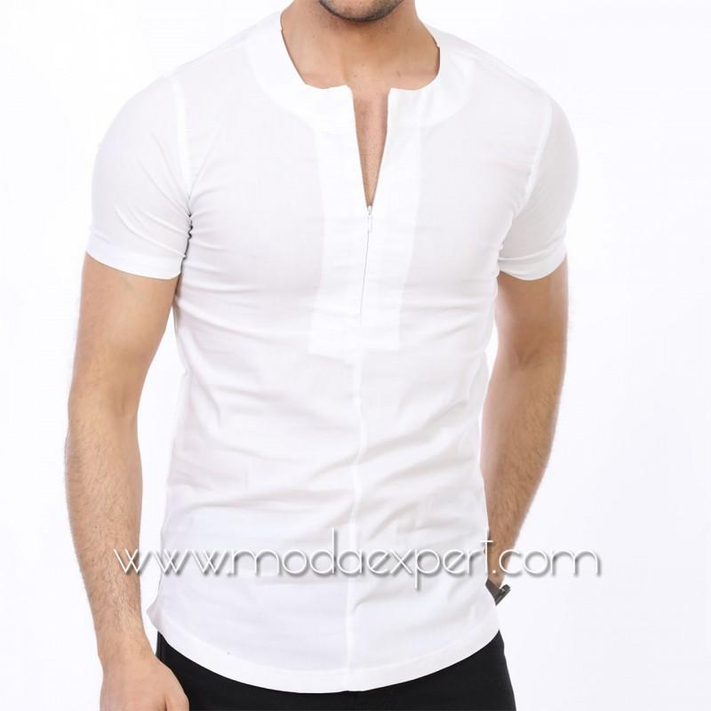 Мъжка риза с къс ръкав тип тениска №MR-4162-W
