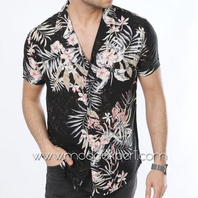 Мъжка риза с къс ръкав №MR-4843