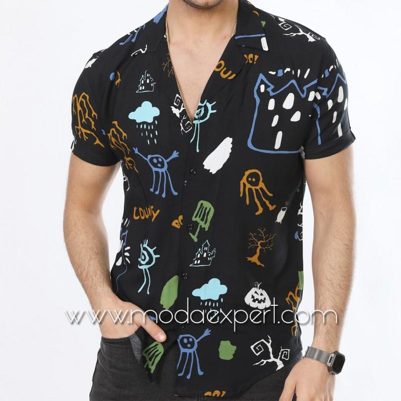 Мъжка риза с къс ръкав №MR-4844-B