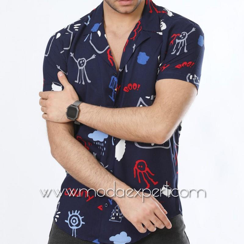 Мъжка риза с къс ръкав  №MR-4844-S