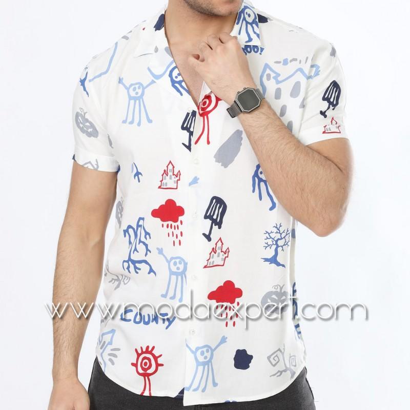 Мъжка риза с къс ръкав №MR-4844-W