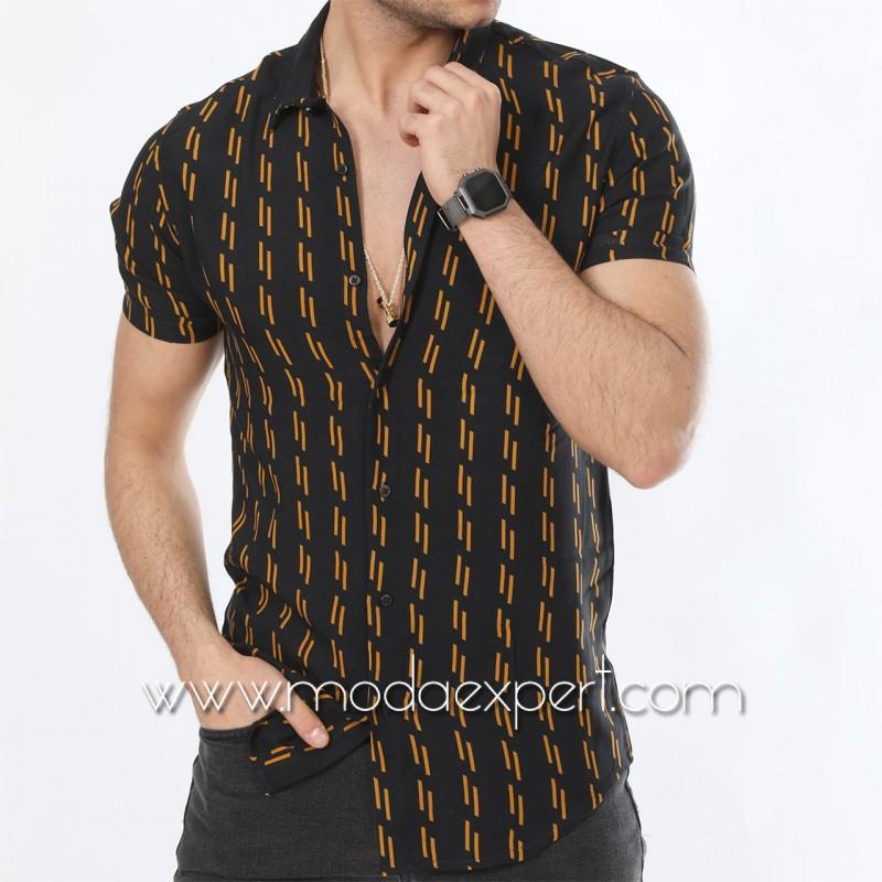 Мъжка риза с къс ръкав №MR-6445-BM