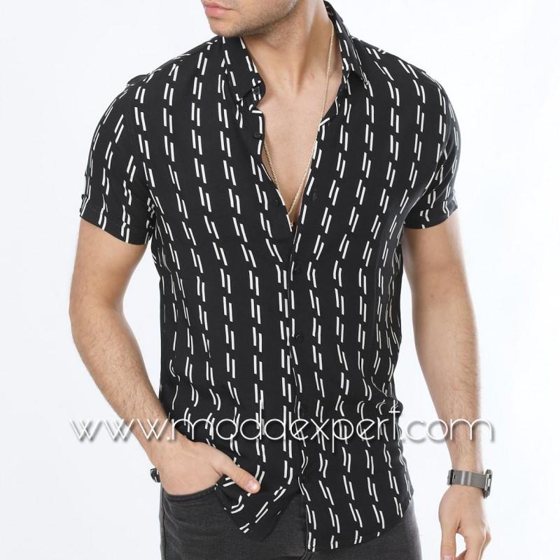 Мъжка риза с къс ръкав №MR-6445-BW