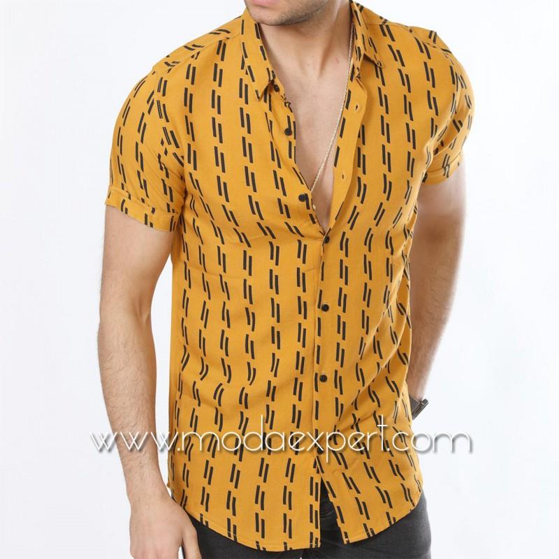 Мъжка риза с къс ръкав №MR-6445-M