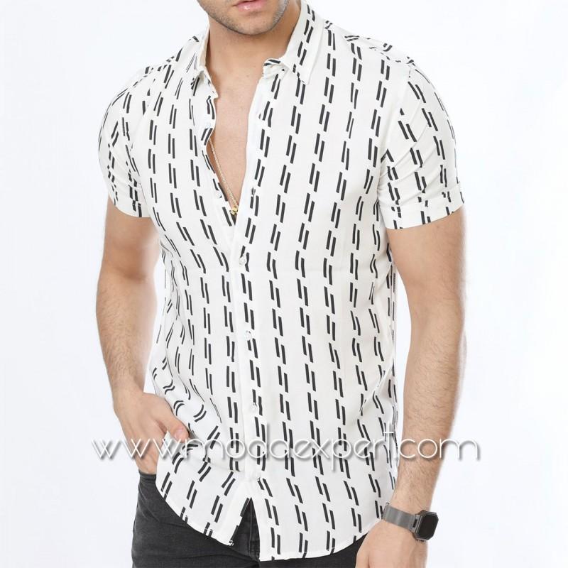 Мъжка риза с къс ръкав №MR-6445-W