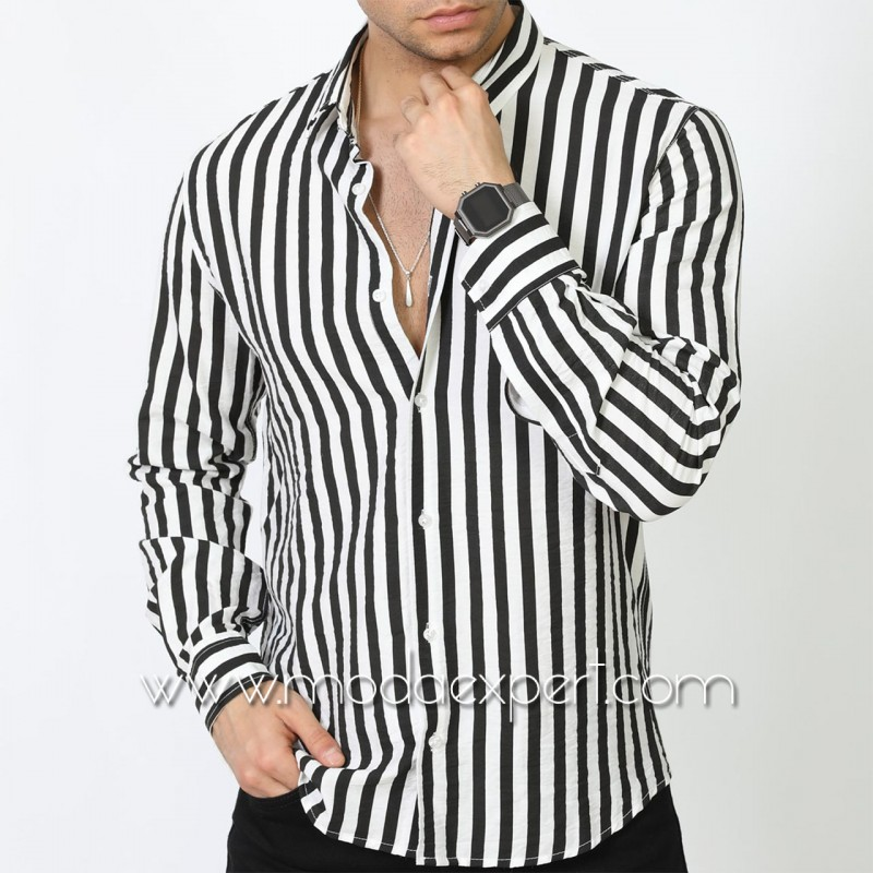 Мъжка риза в райе №MR-6574-W