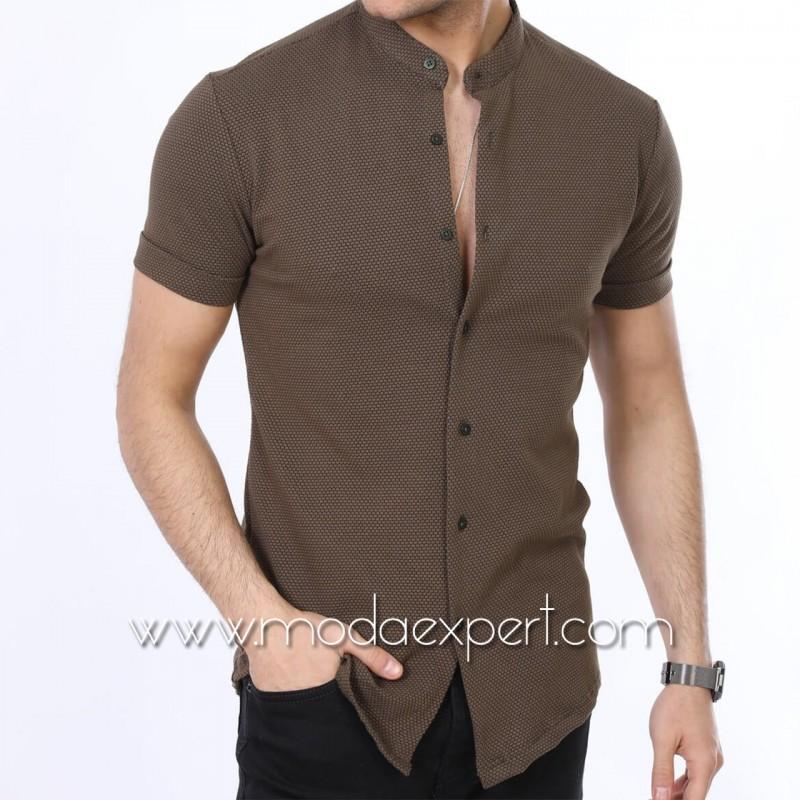 Мъжка риза с къс ръкав №MR-663-K