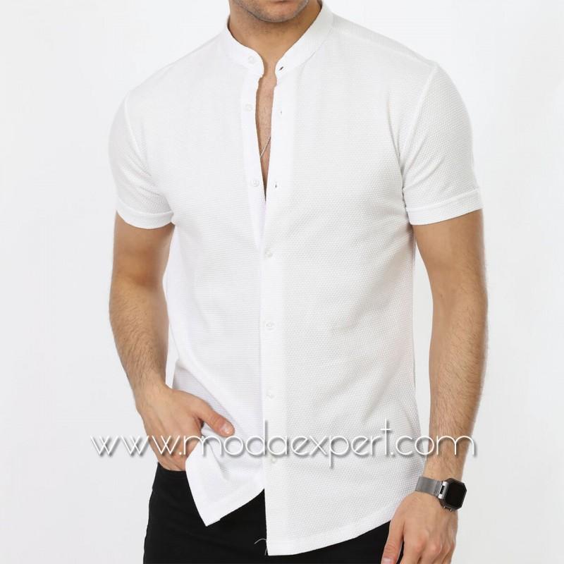 Мъжка риза с къс ръкав №MR-663-W