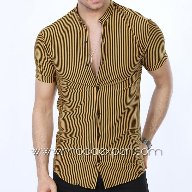 Мъжка риза с къс ръкав №MR-672-M
